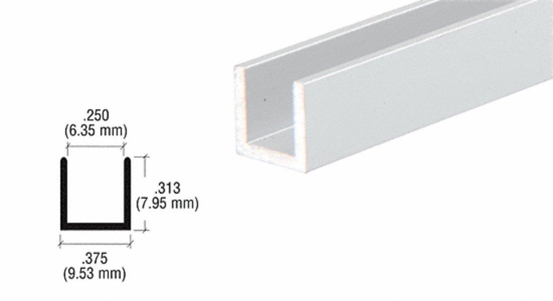 CRL Satin Anodized 1/4'' Aluminum ''U'' Channel - 12 ft Long