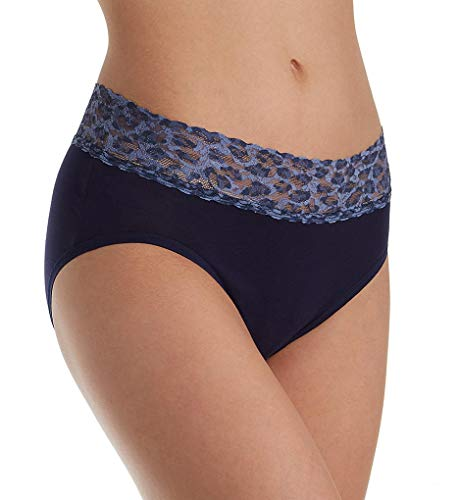 Contrast Trim Briefs - Hanky Panky Organic Cotton French Brief with Contrast Trim (892441) XL/Navy with Denim Cat