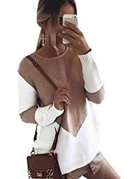 Women Long Sleeve Crew Neck Pullovers Stitching Color Loose Knitted Sweaters