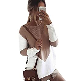 Women's  Crew Neck Pullovers Loose Knitted Sweater