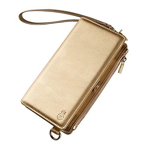 ea9cc5fe0388 Artemis'Iris Iphone 6/6s Wallet Case 2-In-1 Vegan Leather Shoulder Bag, Gold