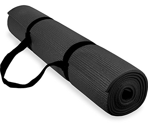 Spoga 1/4-Inch Anti-Slip Exercise Yoga Mat with Carrying Strap, Black