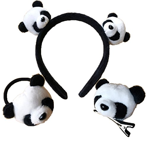- Panda Headband Fur Hair Clip Pin Stretch Hair Tie Hair Accessories for Girls