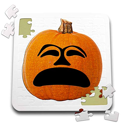 (Sandy Mertens Halloween Food Designs - Jack o Lantern Unhappy Sad Face Halloween Pumpkin, 3drsmm - 10x10 Inch Puzzle)