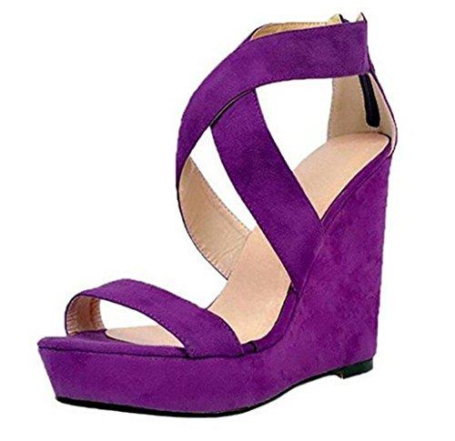 Plataforma Purple Zip Correas Highxe Esponja Sandalias Impermeable Espalda Cruzadas Para Tamaño Tacón 37 De 40414244434546 Gran Color Mujer Tartán Zapatos Cuña Púrpura zqRrwzXUA