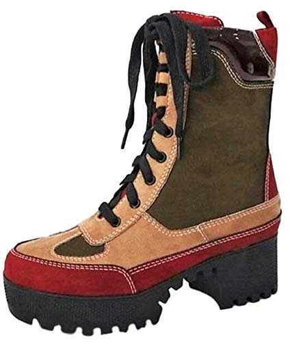 BAMBOO Powerful-06s Women Military Combat Lace Up Lug Sole Ankle High Boots Multi Color 6.5