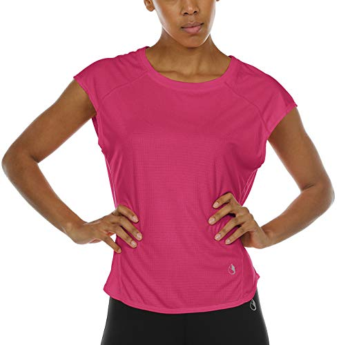 icyzone Yoga Tops Activewear Raglan Workout Tank Tops Fitness Sleeveless Shirts for Women (M, Rose Red)