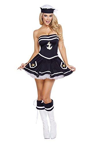 Roma Costume Women's 2 Piece Naughty Navy Yard Vixen, Black, Medium/Large -