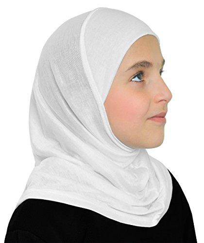 Girls Cotton Hijab 1 piece Amira Headscarf (White)