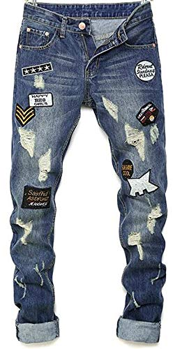 The Do Old New Mens Jeans Uomo Classic Patch To Cotone Distintivo Especial Pantaloni Discoteca Da Locomotiva Blau Slim Hole Estilo Straight Outdoor Original 8t6tqZx