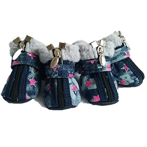 Jim Hugh Dog Shoes Denim Pet Slip-Resistant Teddy Chihuahua Star Pattern Snow Casual Dog Shoes 2 Colors