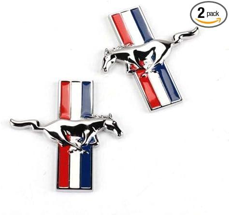 2Pcs Alloy Silver Chrome Running Horse Pony Emblem Fender Badge Sticker Mustan