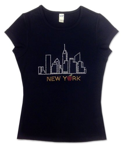 S & T World Products NYC Skyline Women Cotton Baby Doll T Shirt w Stones Black MD