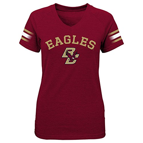 "NCAA by Outerstuff NCAA Boston College Eagles Youth Girls ""First Line"" Short Sleeve V-Neck Tee, Garnet, Youth Medium(10-12)"