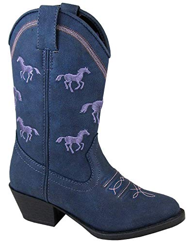 Smoky Mountain Girls' Rustler Western Boot Round Toe Navy 11.5 D ()