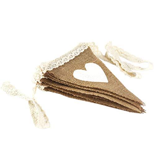 (AZOWA Burlap Banner Wedding Triangle Pennant Hessian Bunting Decroration for Party Decoration)