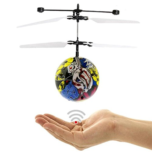 DZT1968 Kids Auto-Switch Hand Flying UFO Ball LED Mini induction Suspension RC Aircraft Flying Toy Ball+USB Charger (B)
