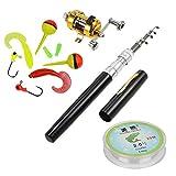 jatzde Portable Mini Telescopic Pen Fishing Rod Reel Combo Set —— Pocket Fishing Rod Pole + Reel Aluminum Alloy + Fishing Line + Soft Lures Set(Black)