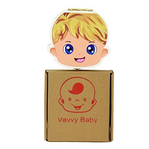 VAVVY BABY Tooth Box for baby milk teeth -Tooth Fairy Box- Tooth keepsake- Milk teeth save organizer- Baby Boy Blonde