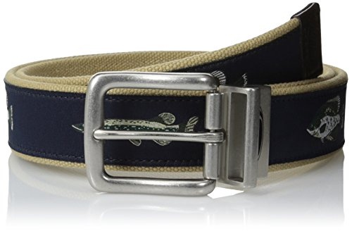 Berkley Men's 35 mm Canvas Fish Printed Belt with Leather Trim Tip and Nickel Buckle, Navy, - Embossed Belt Cotton