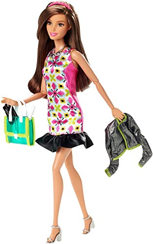 Barbie Style Glam Doll with Pink Retro Print - Retro Glam