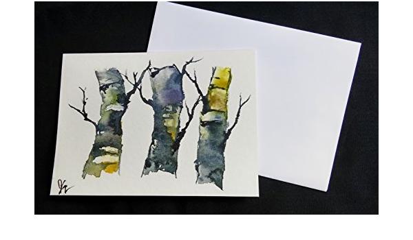 Original painting on greeting card \u2014 Greeting Card  hand painted  Original Watercolor  blank inside  5 x 7  with Envelope