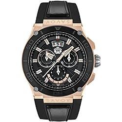 Savoy Metropolitan - IP Rose Gold & IP Black - Black Strap Men's Watch