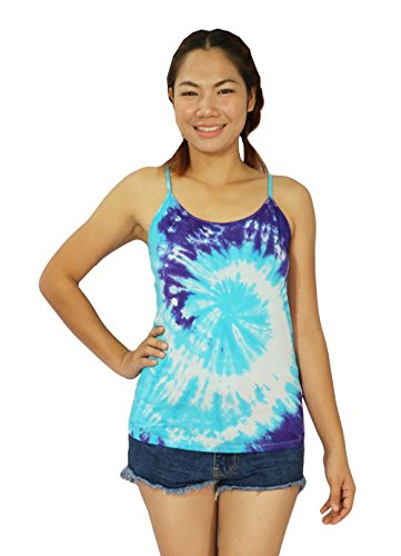 Design By Jingle Women Summer Casual Tie Dye Tie Dye Spaghetti Strap Tank Top Shirt (TT-Blue) (Animal Morph Suits)