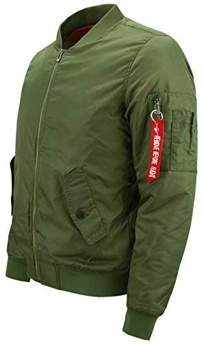 Clásico Simple Hombre para Chaqueta Acolchado De Bombardero Chaqueta grün Bombardero Chaqueta Dick Estilo De Bombardero Ligero Vuelo para Piloto Hombres De Ma1 De De N1 q4n0YR