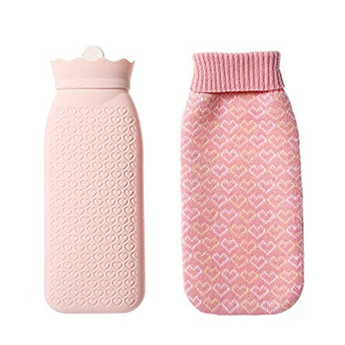 Silicone Transparent Hand Warmer Hot Water Bag with Knit Cover Microwave Safe & Freeze Safe (Pink, 525ML)