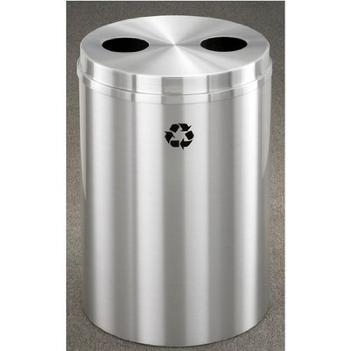 Glaro RecyclePro Satin Aluminum Cover Dual Purpose Recycle Receptacle w/ Bottles/Plastic Message in Espresso Brown Finish, Shown in All Satin Aluminum with Many Other Finishes Available