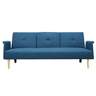 Joveco Fabric Single Tufted Designed Sofa Bed,Three Seats - Dimensions (Inch): Sofa size: 76.75 (L) x 33.88 (W) x 30.25 (H), Seat depth: 21.25, Seat height: 16.13; bed size: 76.75 (L) x 41.75 (W) x 22.5 (H), suitable for lying: 69.63 (L) x 41.75 (W) x 16.13 (H) Material: Fabric, foam, wood Serves as a great piece for dorms, guest rooms, extra room, or vacation homes - sofas-couches, living-room-furniture, living-room - 41rYz3PS4sL. SS400  -