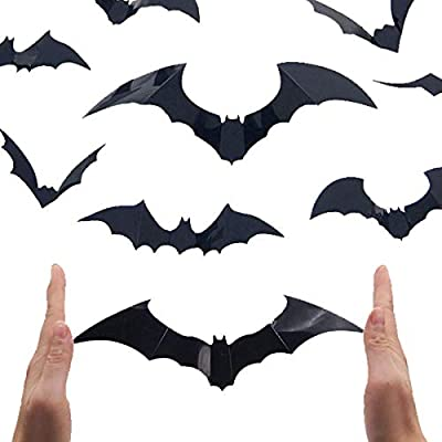 VIIRY 80 Pcs 3D Bats Stickers Halloween Wall Decoration Window Decor Scary Bats Party Supplies