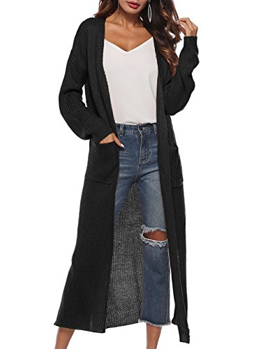 - Womens Casual Long Sleeve Open Cardigan Sweater Maxi Knitted Slide Split Dusters with Pockets S - 3XL Black