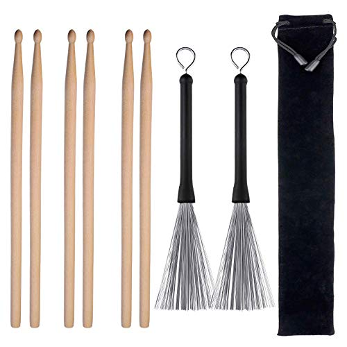 3 Pairs 5A Drum Sticks Classic Maple Wood Drumsticks Sets and 1 Pair Drum Wire Brushes Retractable Drum Sticks Brush for Jazz Acoustic Music Lover Gift Total 4 Pairs with Portable Storage Bag ()