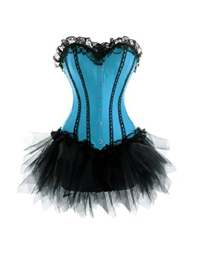 Baby Blue Satin Black Tutu Gothic Burlesque Moulin Rouge Overbust Corset Dress
