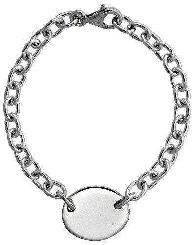 Sterling Silver Heavy Rolo Link Bracelet w/ Oval Tag, 8 inch long (Sterling Bracelet Tag Silver Oval)