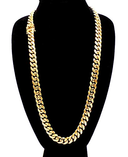 "Cuban Chain Miami (Cuban Link Necklace 18k Gold Plated Miami Cuban Chain Stainless Steel Fashion Jewelry 14 mm 30"" Long)"