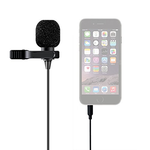MAONO-Lavalier-Microphone-Hands-Free-Clip-on-Lapel-Mic-with-Omnidirectional-Condenser-for-DSLRCameraiPhoneAndroidSamsungSonyPCLaptop-236-in