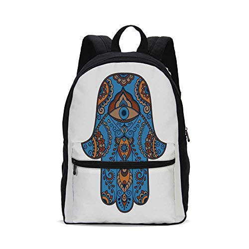 Hamsa Fashion Canvas printed Backpack,Sign of Protection with Curly Paisley Pattern Vintage Amulet All Seeing Eye Decorative for school,One_Size