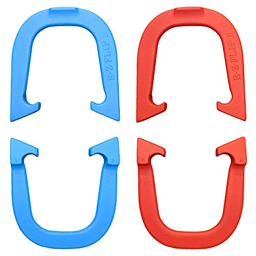 E-Z Flip II Professional Pitching Horseshoes Set- Made in The USA (Red & Blue- Two Pair Set (4 Shoes))