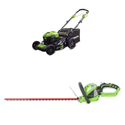 Greenworks 21-Inch 40V Self-Propelled Cordless Lawn Mower with 24-Inch 40V Cordless Hedge Trimmer with Rotating Handle Battery Not Included 21' Self Propelled Mower