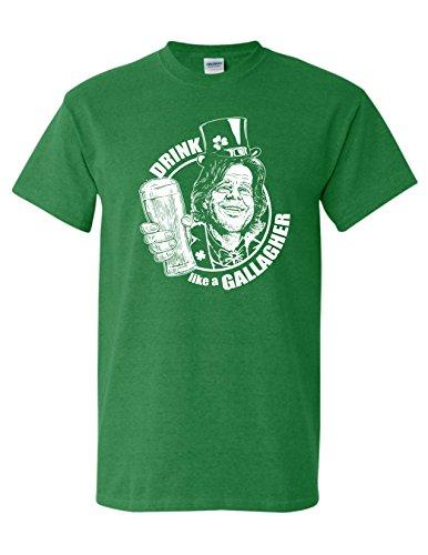 St. Patrick's Day Drink Like a Gallagher Irish Funny Drinking T-Shirt L Antique Irish Kelly