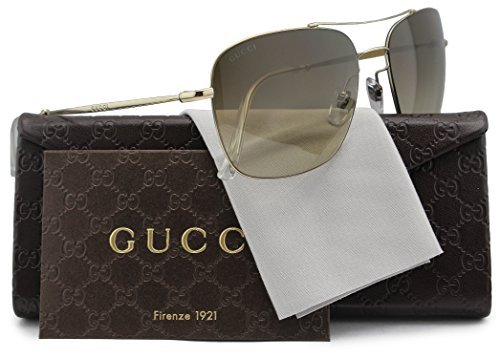 GUCCI GG2262/S Aviator Sunglasses Light Gold w/Brown Gradient (03YG) 2262/S 3YG JD 58mm - Glasses Gucci Authentic