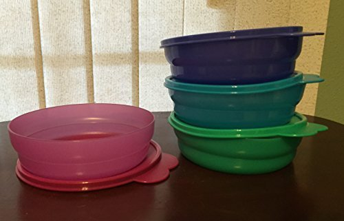 Tupperware Microwave Reheatable Cereal Bowls in Lupine, Cool Aqua, Radish and Sea Green - Aqua Cereal Bowl