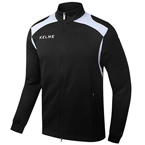 KELME Men's Performance Long Sleeve Half/Full Zip Soccer Training Jacket (X-Large, Black/Full-Zip)