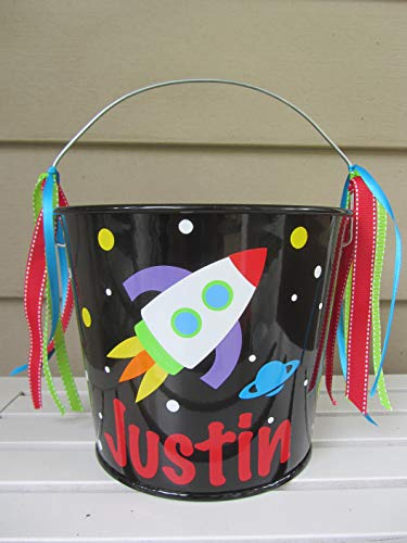 Personalized 5 quart Halloween pail or gift bucket- rocket design -