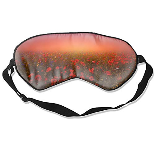 Sleeping Eye Mask Art Print Mulberry Silk Eye Mask Cover Red Poppies Flower - Mulberry Poppy