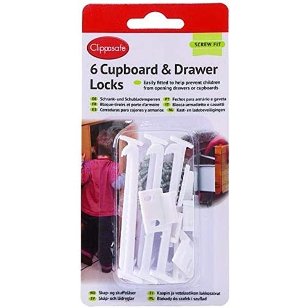 Clippasafe Cl710 Cupboard Lock 6 Pack Amazoncouk Baby