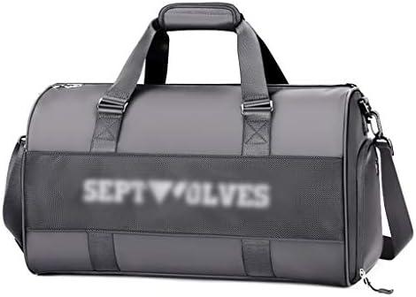 ドライとウェットの分離大容量フィットネスバッグメンズ多機能ゴルフ荷物バッグ防水ウェアラブル独立靴ポジショングレー HMMSP
